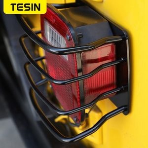 Image 4 - TESIN Metal Auto Tail Light Cover Trim Frame Rear Lamp Guard Protective Sticker for Jeep Wrangler TJ 1997 2006 Car Styling
