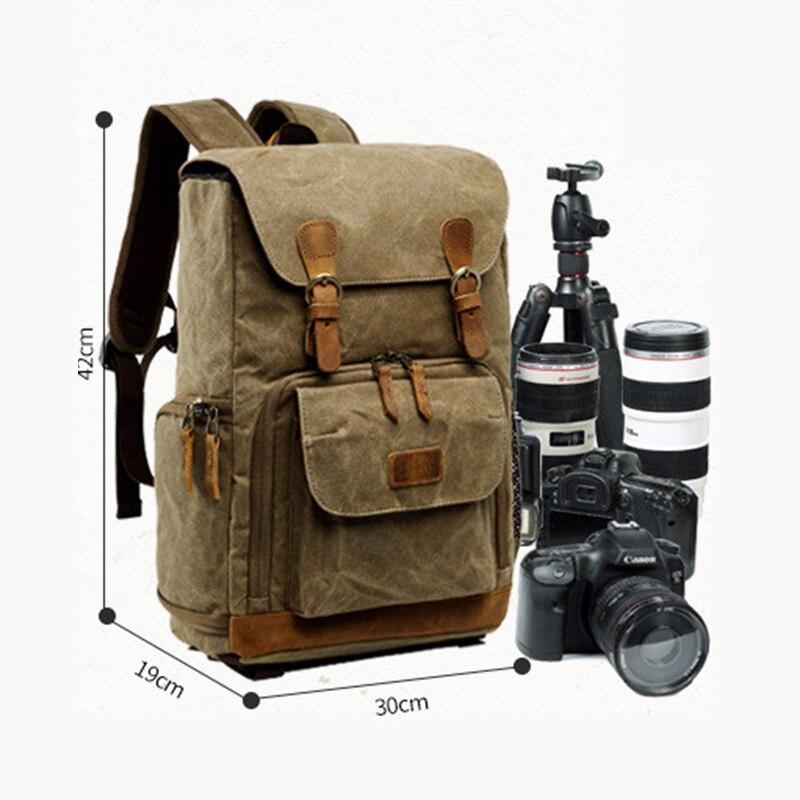Batik lona impermeable bolsa de fotografía al aire libre resistente al desgaste gran cámara de fotos mochila hombres para Fujifilm Nikon Canon Sony - 6