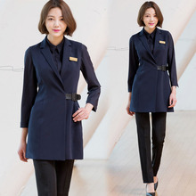 High Grade Korean Pattern Embroiderer Work Clothes Beauty Salon Beautician Clothing Ol Vest Suit Manicurist Professional Suit