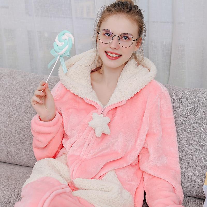 Women Plus Size Long Warm Thicken Flannel Kimono Bathrobe Star Moon Hooded Fleece Bath Robe Cute Night Dress Gown Men Sleepwear