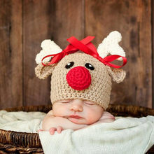 Baby Christmas Hats Crochet Knitted Newborn Infant Baby Boy Girl Hats Cute Bowknot Christmas Deer Cap Photography Props 0-4M(China)