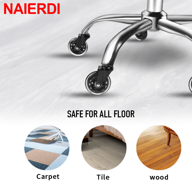 Image 3 - NAIERDI 5PCS Office Chair Caster Wheels 3 Inch Swivel Rubber Caster Wheels Replacement Soft Safe Rollers Furniture Hardware-in Casters from Home Improvement