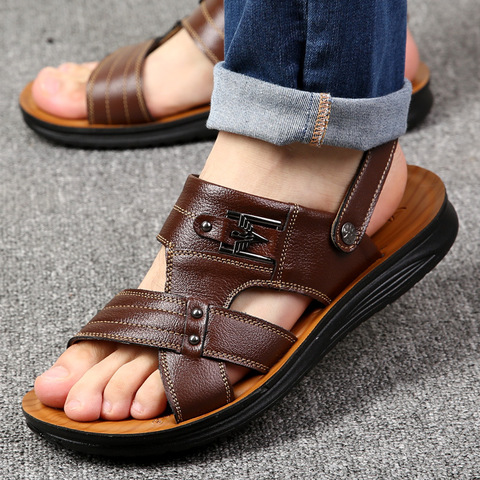 Summer casual shoes men sandals 2019 fashion solid pu leather slip-on indoor & outdoor sandals men shoes slip-on beach man shoes Lahore