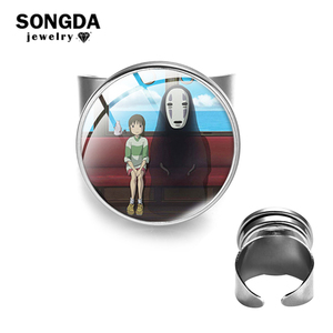 SONGDA 1 Pc Spirited Away Ring Cartoon Art Photo Glass Cabochon Silver Color Ring Baby Girls Toy Gift Kids Jewelry Cute Trinkets