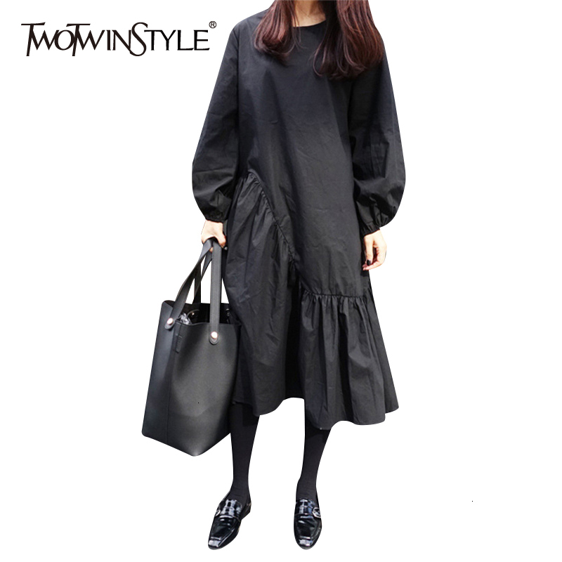 TWOTWINSTYLE Black Asymmetrical Dress For Womeno Neck Lantern Long Sleeve Hem Ruffles Autumn Women's Dresses Clothes Fashion New