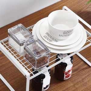 New Kitchen Iron Shoes Organizer Seasoning Box Storage Shelf Cosmetic Jars Holder