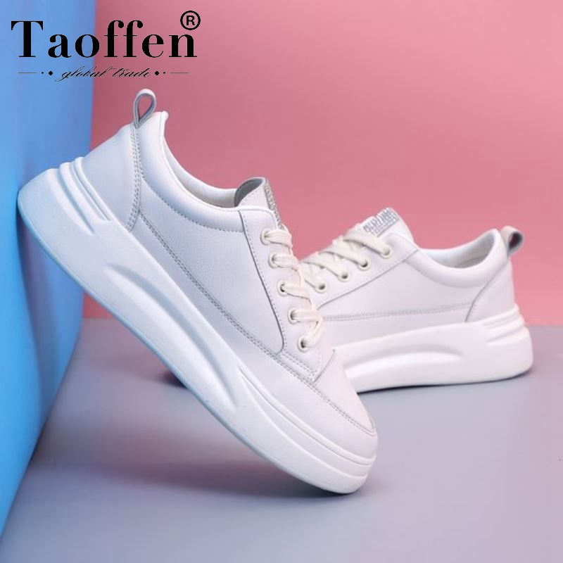 Taoffen Women Sneakers New Arrival Spring Fashion Hot Sale Vulcanized Shoes Women Round Toe Flat Soft Sneakers Size 35-40