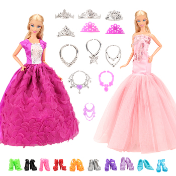 leadingstar 2017 new wedding bridal dress princess gown evening party dress doll clothes outfit for barbie doll for kids gift Accessories New 11.5-12'' Doll Clothes Long Tail Evening Party Wedding Party Lace Dress Gift Present For Barbie Outfit Costumes