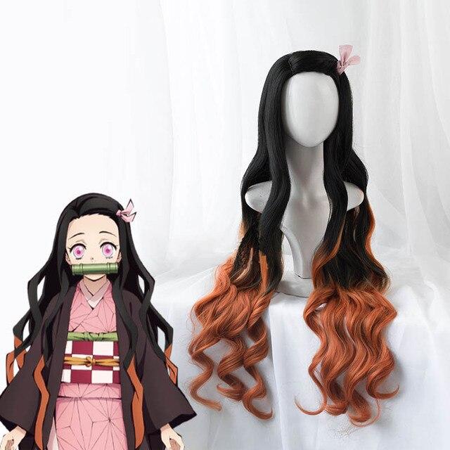 Demon Slayer: Kimetsu no Yaiba Nezuko Kamado Cosplay Wig 100cm Wavy Heat Resistant Hair Cosplay Costume Wigs + Wig Cap