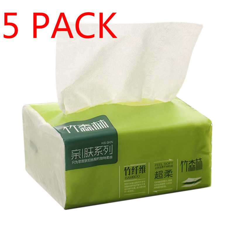 2020 New 5 Packet Of Napkins Log Pumping Paper Towels Baby Paper Towels Household Natural Color Pumping Paper 3-Ply Toilet Paper