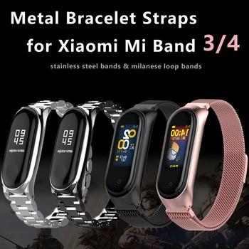 Mi lanese Loop muñequera para Xiaomi mi Band 3/4 pulsera de acero inoxidable para Smart Watch mi band 4 mi band 3