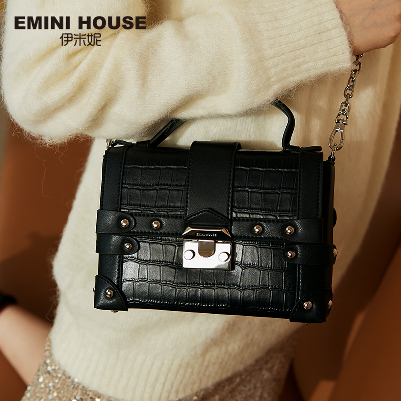 EMINI HOUSE Crocodile Pattern Genuine Leather Box Bag Luxury Handbags Women Bags Designer Rivet Padlock Women Shoulder Bag