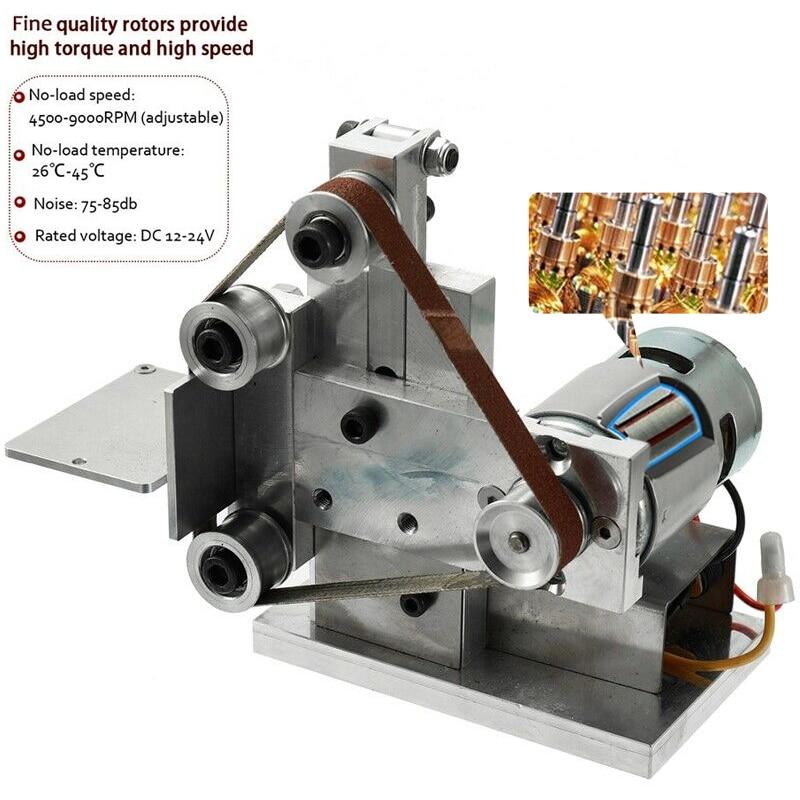 240V 10/20mm DIY Mini elektryczny pas szlifierka polerowanie szlifierka krawędzi ostrzenia drewna szlifierka do metalu polerowanie
