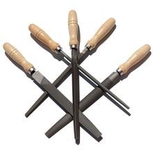 Набор напильников из высокоуглеродистой стали с деревянными ручками, напильник для дерева, металла, пластика, 5 штук(стальной напильник