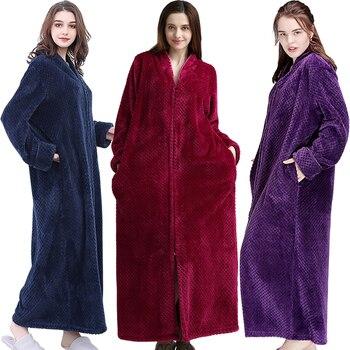 Las mujeres Extra largo de talla grande grueso cálido Sleepshirts hombres de lana de Coral de invierno cremallera camisones embarazada traje de franela de vestido de noche