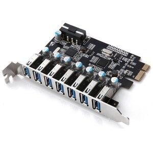 SuperSpeed USB 3,0 7 портов PCI-E экспресс карта с 15pin SATA разъем питания PCIE адаптация NEC720201 и VL812 чипсеты карты usb