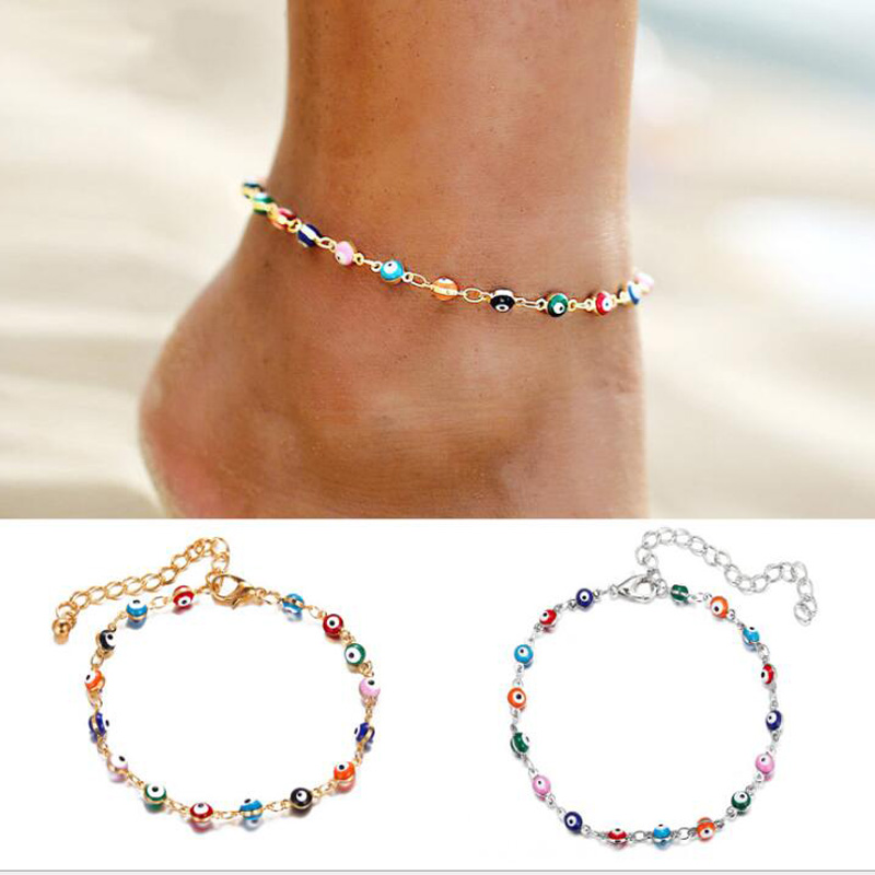 Wgoud Bohemian Colorful Eye Beads Anklet for Women Summer Ocean Beach Ankle Bracelet Foot Leg Jewelry Dropshipping