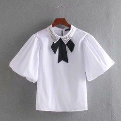 Женская блузка из поплина с бантом, украшенная бисером, весна 2020