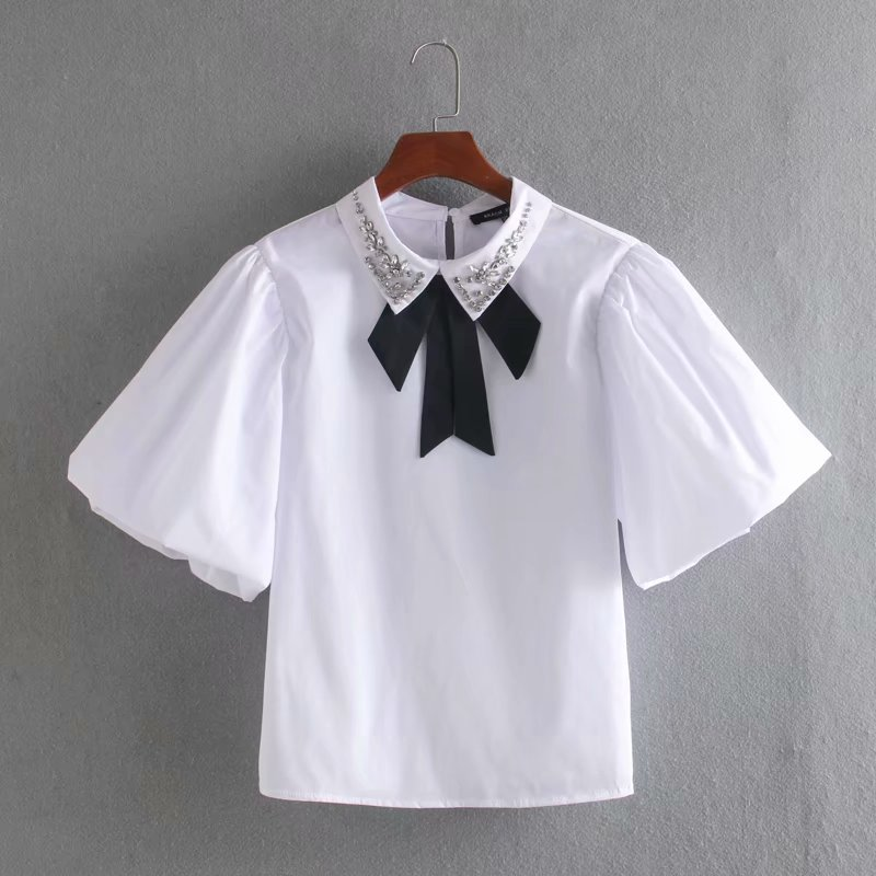 2020 Spring Women Simply Bow Tied Beading Decoration Poplin Blouse Shirts Women Chic Lantern Sleeve Blusas Chemise Tops LS6480