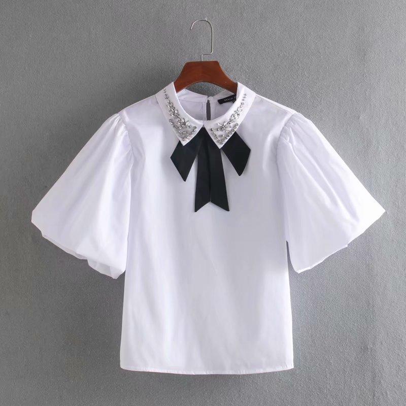 2020 Spring Women Simply Bow Tied Beading Decoration Poplin Blouse Shirts Women Chic Lantern Sleeve Blusas Chemise Tops LS6480