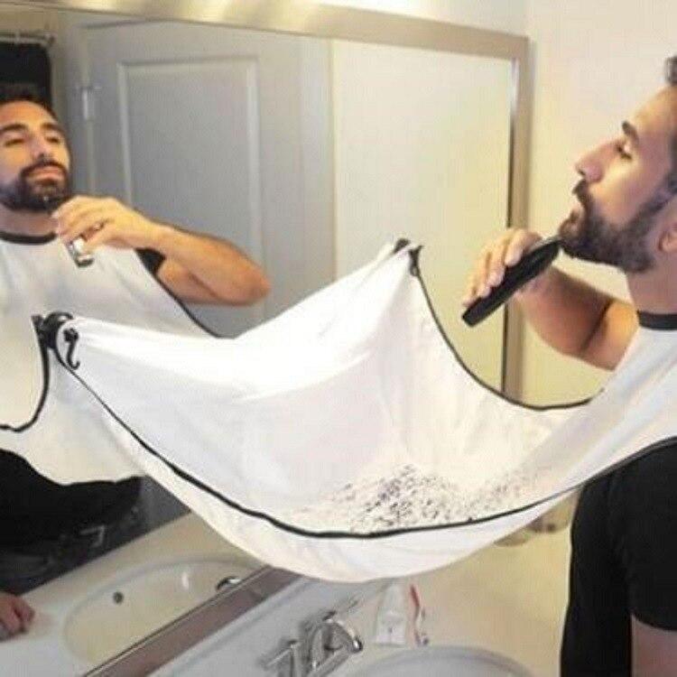 Pongee Beard Shave Apron Bib Trimmer Razor Holder Rack Hair Shave Apron Shaving Shaver Holder Bathroom Organizer Gift For Man E