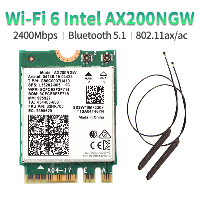 Dual band 802.11ax WIfi 6 For Intel AX200 NGFF M.2 KEY E Wireless Card AX200NGW MU-MIMO 2.4G/5Ghz 2400Mbps BT 5.1 With Antennas(China)