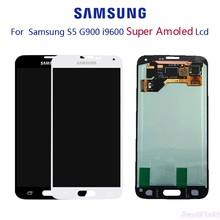 Original Super AMOLED para SAMSUNG Galaxy S5 G900F G900H pantalla LCD MONTAJE DE digitalizador con pantalla táctil con adhesivo