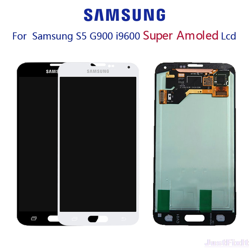 Original Super AMOLED For <font><b>SAMSUNG</b></font> Galaxy S5 <font><b>G900F</b></font> G900H LCD <font><b>display</b></font> Touch Screen Digitizer Assembly with Adhesive image