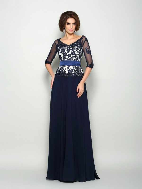 Navy Blue Mother Of The Bride Dresses A-line V-neck Half Sleeves Chiffon Appliques Plus Size Groom Mother Dresses For Weddings