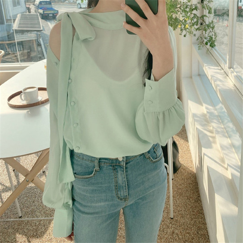 Alien Kitty Korean Chic Elegant Lace Up Loose Puff Sleeve Chiffon Shirt 2020 Sexy Gentle All Match Women Slim Casual OL Blouses