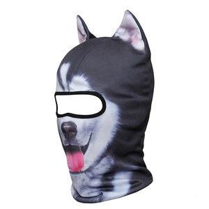 Image 2 - מצחיק 3D אוזני בעלי החיים גרב גולגולת בימס לנשימה חתול כלב פנדה שועל האסקי מלא מגן כובע כובע גברים נשים פנים מסכת משמר
