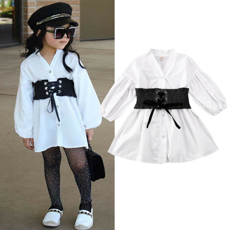 2-6 Years Toddler Kids Girls Shirt Baby Girls Clothes White Long Puff Sleeve Shirt With Sashes Belt Girls Long Shirt Dress Tops