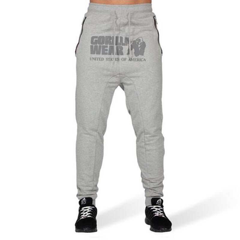 Autumn New Men's Casual Sports Fitness Trousers Side Pocket Zipper Stretch Feet Pants GORILLA WEAR Print Gyms Fitness Pants