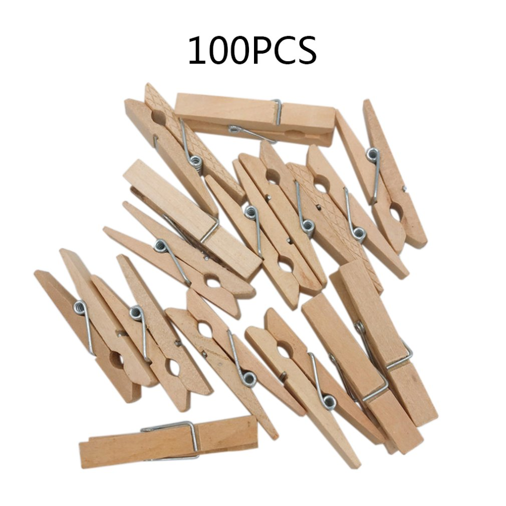 Natural Wood Clips Wood Color Clips Photo Clips DIY Accessories Square Blackboard Small Wooden Clamp Daily Supplies