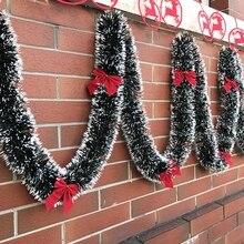 1 шт., 2 м, Рождественская гирлянда, зеленые рождественские вершины, ленты, украшения для рождественской елки, орнамент, тростниковая мишура, новогодние, вечерние, Navidad