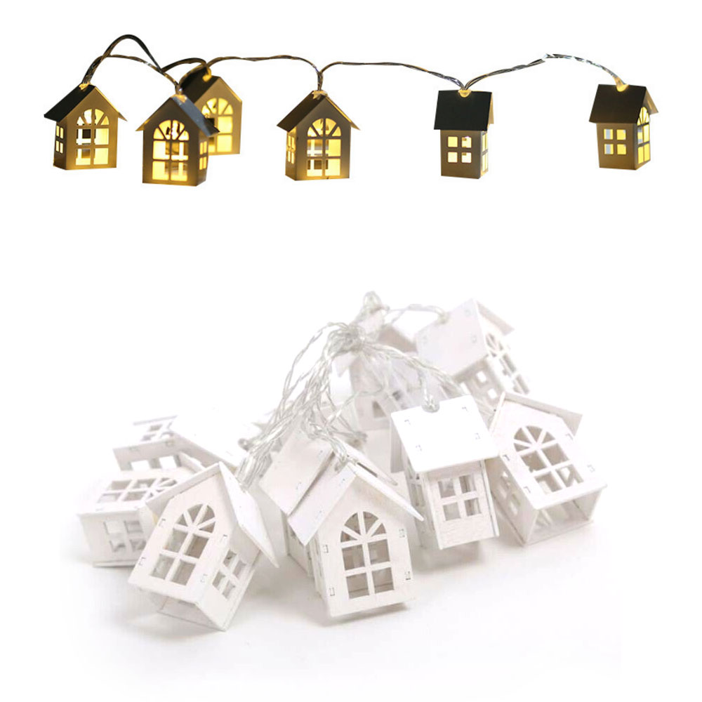Wood House LED String 2m 10LED Light Garland Lamp Christmas Wedding Party Holiday Light Fairy Lights Wooden Hanging Decoration