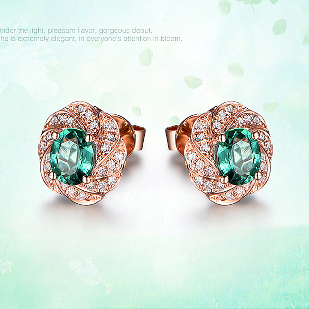 Esmeralda gemas cristal verde zirconia diamantes pendientes de tuerca para las mujeres rose gold tone joyas bijoux regalos accesorios de moda Fantasía abstracta pintura de Ángel con diamantes Full drill cuadrado/mosaico redondo diamante set imagen de diamantes de imitación bordado arte abstracto