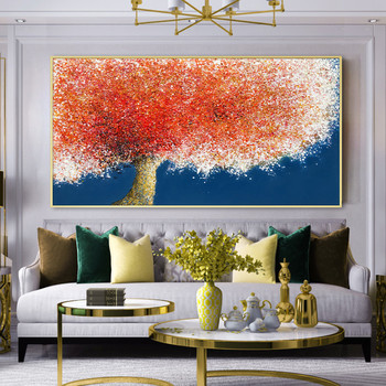 Large size frameless red tree painting landscape modern home wall art decoration hand painted oil painting unique gift