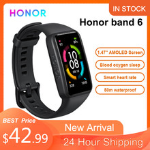 Honor band 6 pulseira inteligente tela cheia 1.47