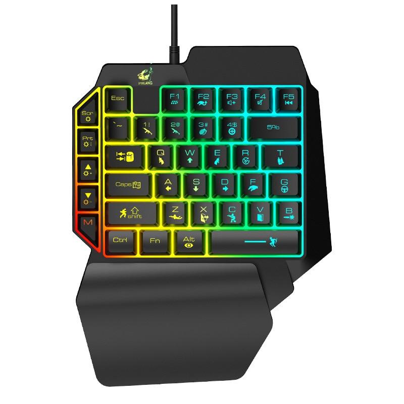 Left Hand Keyboard Single Hand Keyboard Mechanical Feel Game Keyboard For Mobile Tablet Laptop PUBG Game