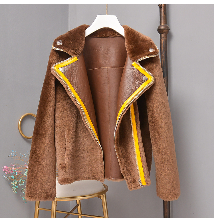 Natural Sheepskin Pure Color Coat Winter Clothes Women 2020 New Arrival Merino Wool Parka Real Fur Genuine Leather Jacket