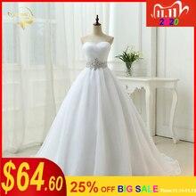 Sıcak satış beyaz Vestido De Noiva 2020 yeni tasarım bir çizgi mükemmel kemer Robe De Mariage straplez Lace Up düğün elbiseler OW 7799