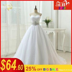 Image 1 - Vendita calda Bianco Vestido De Noiva 2020 di Nuovo Disegno UNA linea Perfetta Cinghia Robe De Mariage Senza Spalline Lace Up abito Da Sposa abiti OW 7799