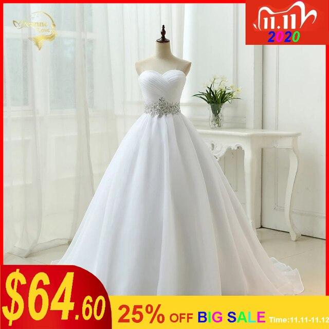 Vendita calda Bianco Vestido De Noiva 2020 di Nuovo Disegno UNA linea Perfetta Cinghia Robe De Mariage Senza Spalline Lace Up abito Da Sposa abiti OW 7799