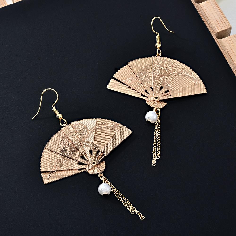 Chinese Style Fan Tassel Earrings Golden Pearl Earring for Women 2020 Dangle Hanging Drop Pendientes Female Accessories Jewelry(China)