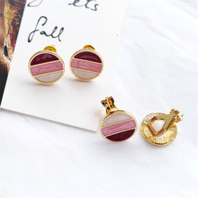 South Korean fashion and colorful geometric circular earrings personality geometry delicate women wholesale