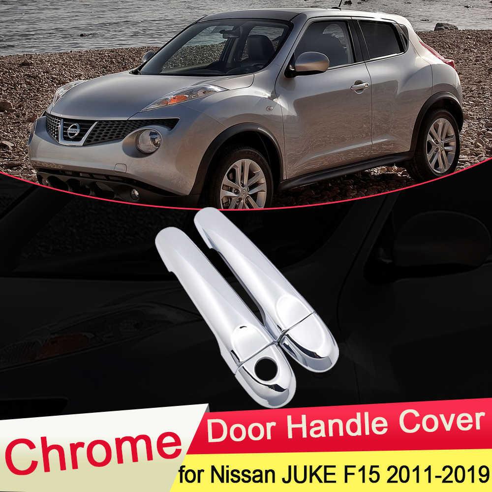 Dla Nissan JUKE F15 Infiniti ESQ 2010 ~ 2019 chromowana pokrywa klamki drzwi złapać zestaw wykończeniowy czapka samochodowa akcesoria 2011 2012 2013 2014 2015