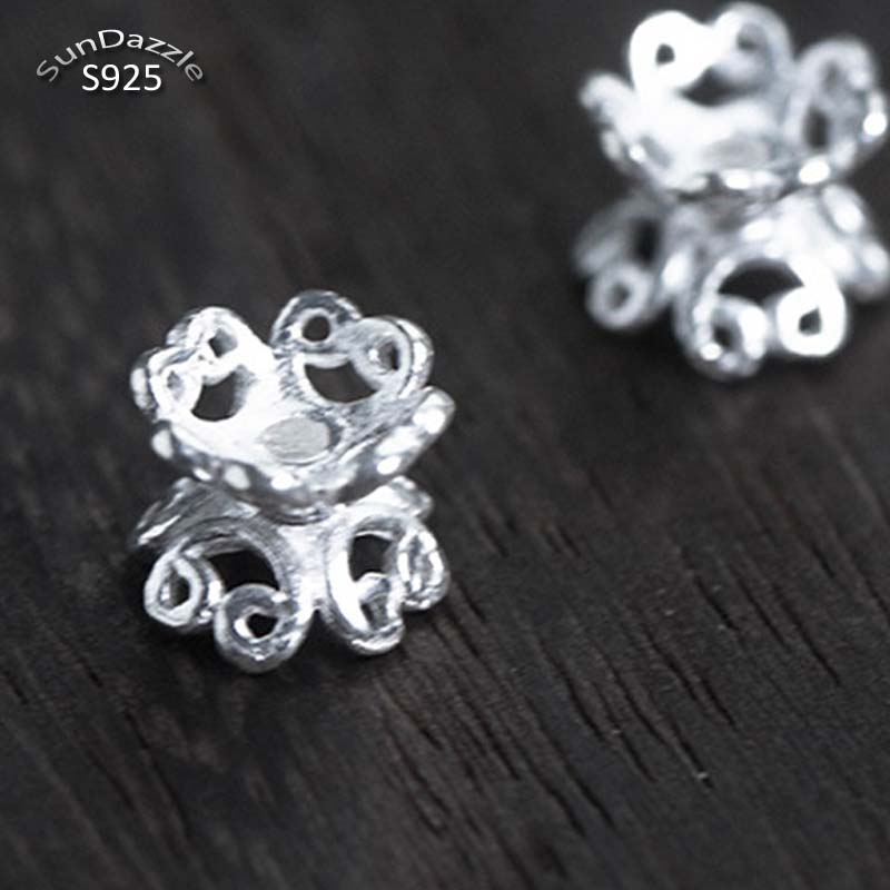 2pcs Real Solid 925 Sterling Silver Double Side Flower Bead Caps Necklace Bracelet Connector For DIY Jewelry Making Findings