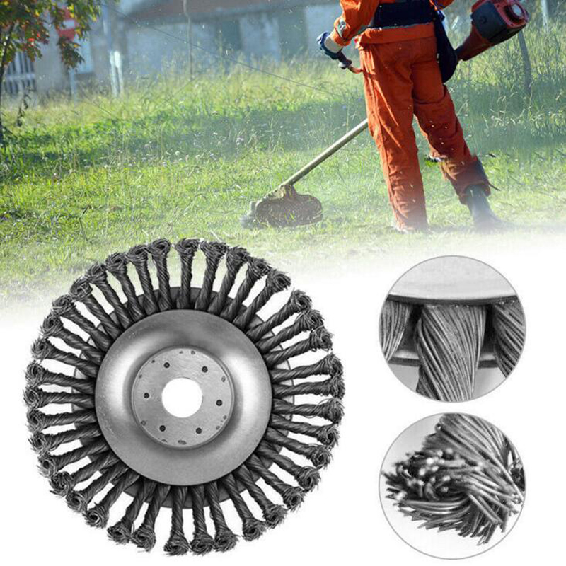 Weed Grass Trimmer Blade Break Proof Wired Round Edge Steel Trimmer Weed Cutter Grass Machine Accessories For Garden Lawn|Cleaning Brushes| |  -