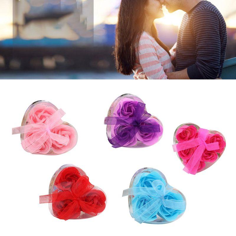Купить с кэшбэком Heart Scented Bath Body Petal Romantic Rose Flower Soap Wedding Decoration Gift